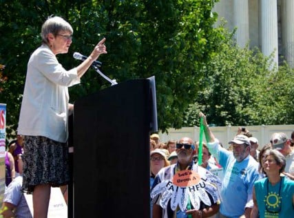 Sister Simone Campbell addresses an audience Monday July 2, 2012 to concluded the Nuns on the Bus tour.