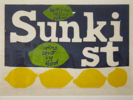 Combining images and words from advertising, pop culture and religion, the bold graphic art of Sister Mary Corita was as deeply representative of the spirit of the 1960s as it was ubiquitous in church basements, dorm rooms and urban communes of people involved in the struggle for civil rights and the campaign to end the Vietnam War. This print about two Johns, John F. Kennedy and Pope John XXIII, incorporates the logo of the Sunkist citrus-growing company.