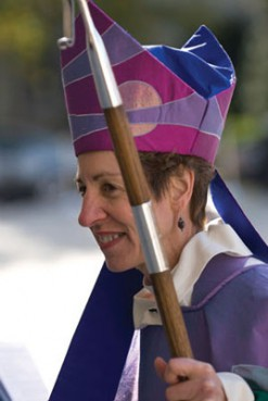 Episcopal Presiding Bishop Katharine Jefferts Schori, seen here at her 2006 installation at Washington National Cathedral, was told to remove her miter (bishop's hat) when she preached at services in London, in part because the Church of England does not allow women bishops.