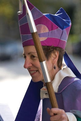 Episcopal Presiding Bishop Katharine Jefferts Schori, is seen here at her 2006 installation at Washington National Cathedral. Religion News Service file photo courtesy Alex Dyer/Episcopal News Service