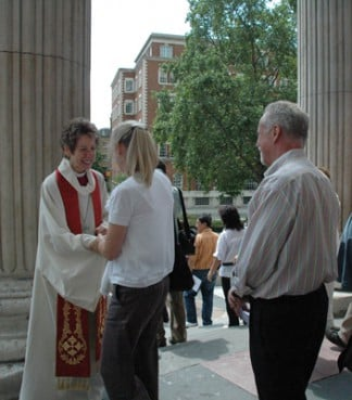 Episcopal Presiding Bishop Katharine Jefferts Schori greets worshippers outside St. Paul's Cathedral in London. The presiding bishop defended her church's embrace of gays and lesbians during a whirlwind tour of six English-speaking Anglican provinces in 2010.