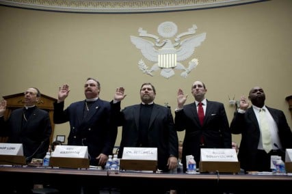 Bishop William Lori of Bridgeport, Conn., far left, testifies on the Obama administration's contraception mandate with other religious leaders at a Feb. 16 hearing of the House Government Reform and Oversight Committee.