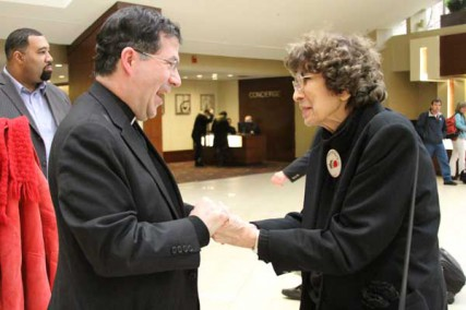 Father Frank Pavone of Priests for Life greets Nellie Gray, the matriarch of the annual March for Life rally against abortion, in January 2012 in Washington.