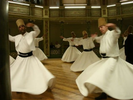 Whirling Dervishes Ceremony in Istanbul (Turkey, 2005).