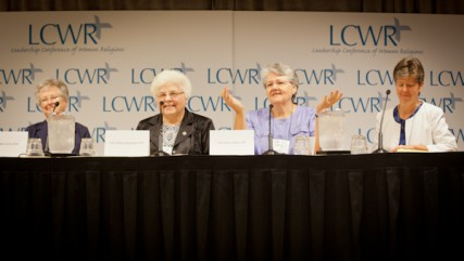 From left, Sister Helen Garvey, Sister Marlene Weisenbeck, Sister Nancy Schreck and Sister Annmarie Sanders field questions from reporters during the Leadership Conference of Women Religious in St. Louis, Mo. on Friday, August 10, 2012.