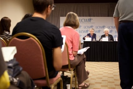 (Left) Sister Helen Garvey, and Sister Marlene Weisenbeck  field questions from reporters during the Leadership Conference of Women Religious in St. Louis, Mo. on Friday, August 10, 2012.