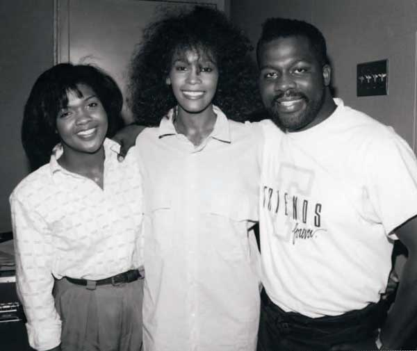 CeCe Winans, Whitney Houston, and BeBe Winans in the studio at the recording of