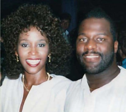 BeBe Winans and Whitney at her 26th birthday party, where she received a live monkey as a gift from Michael Jackson.
