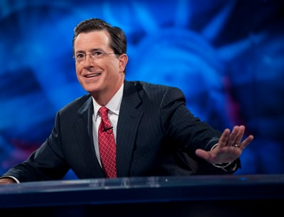 """Comedy Central's Stephen Colbert has used his """"Colbert Report"""" to gently make fun of religion and religious institutions, even as he remains a man of deep and devout Catholic faith.  Photo courtesy Scott Gries/Comedy Central"""