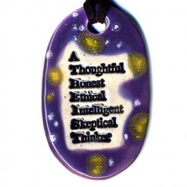 """Amy Roth's best-selling Surlyramic item is an oval pendant that spells out the word """"Atheist"""" vertically, each letter beginning another word intended to describe atheists -- """"A Thoughtful, Honest, Ethical, Intelligent, Skeptical Thinker."""""""