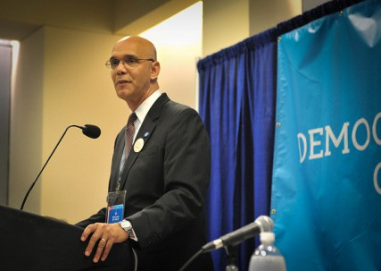 Rev. Derrick Harkins, the DNCs' director of religious outreach, speaks during the 2012 Democratic National Convention.