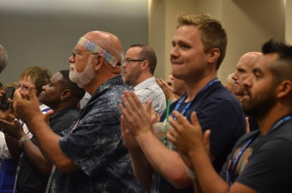Attendees clap during the LGBT caucus of the 2012 Democratic National Convention in Charlotte, N.C. on Tuesday Sept. 4, 2012.