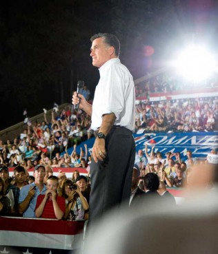 Mitt Romney speaks to crowd in Nashua, NH during a rally for Romney/Ryan 2012.