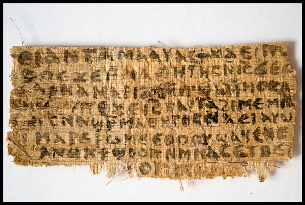 The fragment of papyrus that offers fresh evidence that some early Christians believed Jesus was married. Photo courtesy Karen L. King