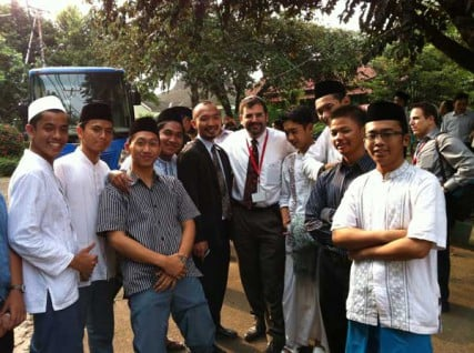 Rabbi Asher Lopatin (center) with students of an Indonesian Islamic School.