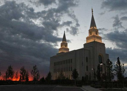 Storm clouds roll over the Kansas City, Missouri Temple of the Church of Jesus Christ of Latter-Day Saints Saturday evening, August 18, 2012. The Temple was dedicated on May 6, 2012.