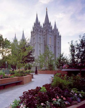 The Salt Lake Temple, also known as the Mormon Temple, worship site of the Church of Christ of Latter-Day Saints in Salt Lake City, Utah.