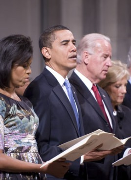 First lady Michelle Obama and President Barack Obama are joined by Vice President Joe Biden and Jill Biden at a National Prayer Service at Washington National Cathedral.