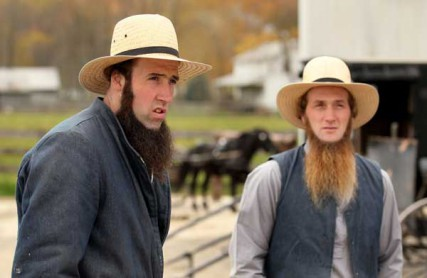 Allen Miller, left, and Crist Mullet, right, one of Sam Mullet's children, photographed during an interview in Bergholz, OH, Monday, October 15, 2012. Sam Mullet was convicted in federal court for a series of beard and hair cutting attacks in the Amish community. Several of Mullet's family and community members were also convicted and await sentencing. Photo by Marvin Fong, courtesy of The Plain Dealer