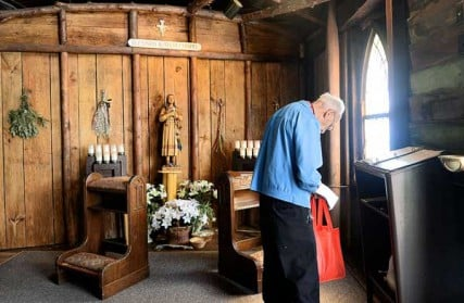 Hundreds of people visit the National Kateri Shrine and Indian Museum on Route 5 in Fonda, NY. Saint Kateri was baptized and lived there from 1666-1677. The main building houses St. Peterís Chapel, the Blessed Kateri Chapel and the Native American Exhibit. Rev. John Shaw of the Native Ministries in the Yakama Diocese in Washington state visits the Blessed Kateri Chapel. Saint Kateri, a Mohawk, will be one of seven Saints inducted during a Canonization ceremony at the Vatican on October 21, 2012.