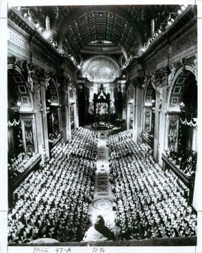 Vatican City -- Prelates and religious dignitaries from around the world fill St. Peter's Basilica as a concelebrated Mass opens the Second Vatican Council on Oct. 11, 1962.