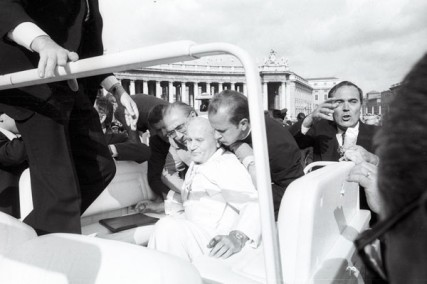 John Paul II is protected while inside his vehicle during a murder attempt in Vatican City at St. Peter's Square on May 13, 1981 (Copyright L'Osservatore Romano).
