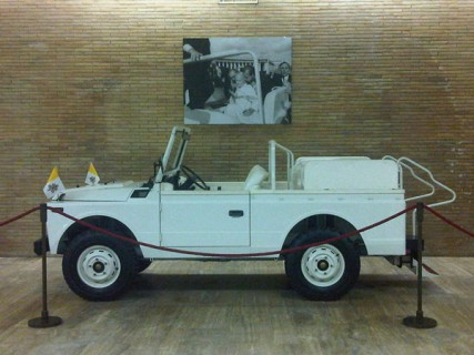 The 1980 Fiat Campagnola in which Pope John Paul II was traveling when he was shot in 1981, as it is exhibited in the Carriage Pavillion at the Vatican Museums.