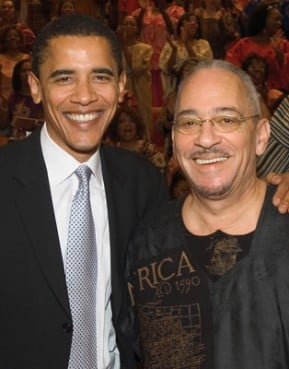 (RNS) President Obama dropped his membership at Chicago's Trinity United Church of Christ after racially tinged sermons by the Rev. Jeremiah Wright (right) nearly derailed his campaign. RNS file photo courtesy Trinity United Church  of Christ.