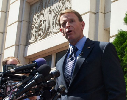 Family Research Council president Tony Perkins speaks outside the Family Research Council Headquarters at 801 G Street, Washington, D.C. August 16.