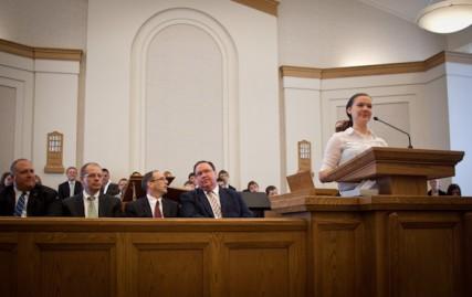 Kaitlyn Weeks speaks during the service at The Church of Jesus Christ of Latter-day Saints - Lenexa Ward on Sunday June 17, 2012 in Lenexa, Kan.