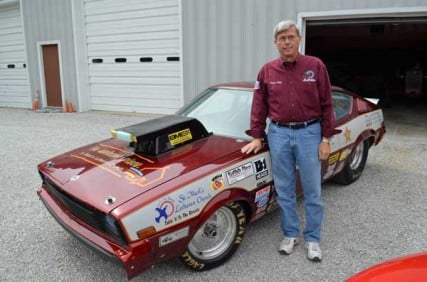 Rev. Dale Schaefer's latest race car, a 1980 Plymouth Arrow which he customized with a 750-hp, 452-cubic-inch engine. It tops 140 mph in the quarter mile.