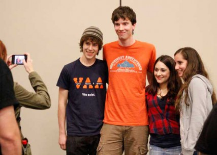 Skepticon attendees pose for a picture with Jessica Ahlquist (third from left) after she shared her story as a young outspoken atheist.