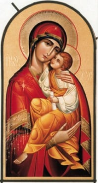 A Greek icon of Theotokos depicts the Virgin Mary and the child Jesus.