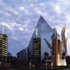 Sunset at Crystal Cathedral in Garden Grove, Calif. Photo courtesy Creative Commons Website
