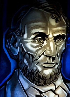 (RNS3-JAN28) President Abraham Lincoln is depicted in stained glass at New York Avenue Presbyterian Church in Washington, D.C., where the president occasionally worshipped. For use with RNS-LINCOLN-FAITH, transmitted Jan. 28, 2009. Religion News Service photo by David Jolkovski.