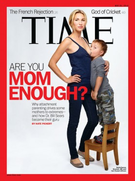 Even as the number of breast-feeding mothers continues to grow, public breast-feeding is still a source of provocation more than consolation. Just recall the controversy that erupted last spring over the Time magazine cover that showed a 26-year-old mom breast-feeding her 3-year-old son ? a portrait that was inspired by images of the Madonna and Child.  **Note: this image is not available to download.