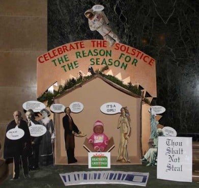 "Freedom from Religion Foundation co-president Annie Laurie Gaylor said her group's ""non-Nativity display"" in Wisconsin's Capitol, which celebrates the winter solstice, features a baby doll like many Christmas displays -- with a couple of differences."