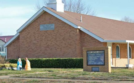 The First Baptist Church of Stover, Mo., is home to about 100 congregants led by the Rev. Travis Smith, who has been charged with statutory rape by the Moniteau County prosecutor's office.