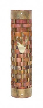 A metal mezuzah from the Gary Rosenthal Collection.