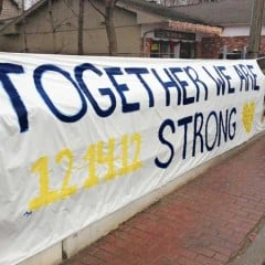 'Together we are Strong' statement in Newtown, Connecticut, in memory of the children and 6 adults who died at the Sandy Hook Elementary School in Newtown, Connecticut on December 14, 2012. RNS photo by Arthur McClanahan, Iowa United Methodist Conference