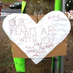 Remembrance heart for some of the children who died at the Sandy Hook Elementary School