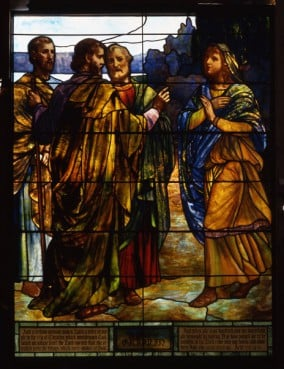 'Lydia Entertaining Christ and the Apostles' (1910) is part of an exhibit at the Museum of Biblical Art in New York City.