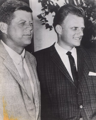 Shortly before his inauguration as the first Roman Catholic to be elected President of the United States, John F. Kennedy welcomed evangelist Billy Graham at his Palm Beach home for an afternoon of discussion and golf.