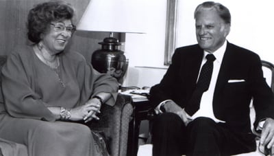 New York, New York -- On the eve of a New Jersey crusade, Billy Graham addressed staffers at the Interchurch Center. He is pictured here with National Council of Churches general secretary Rev. Joan Campbell. (1991) Religion News Service file photo Religion News Service file photo. 1991