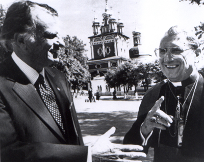 Zagorsk, Russia -- (left to right) Billy Graham and Cardinal John O'Connor stand in front of the belfry of the Zagorsk monastery June 9, 1988. Both attended the festivities of the Russian Christian millenium. Religion News Service file photo (1988)