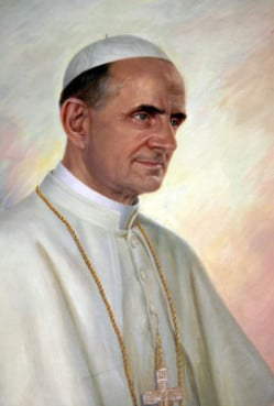 A painting of Pope Paul VI, who issued the Humanae Vitae encycical in 1968, at the Casa Santa Maria dell'Umilta of the Pontifical North American College, Rome. Religion News Service file photo by Rene Shaw.