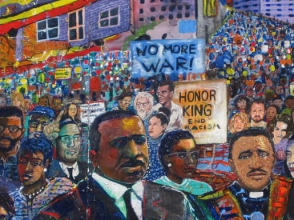 "Mural of Dr. Martin Luther King's march in Selma, with Dr. Joshua Heschel, a Jewish civil rights activist, pictured below the ""No More War"" sign. Courtesy of the Hillel at Emory University."