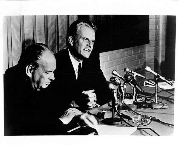Dr. Oswald C.J. Hoffman, of St. Louis, chairman of the national committee, and Billy Graham.
