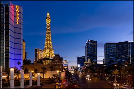 Number 8:  Nevada - Blue hour shot of Las Vegas Blvd in Las Vegas, Nevada.  RNS photo courtesy Pedro Szekely via (http://flic.kr/p/9j6qNh)