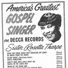 Decca advertisement for Sister Rosetta Tharpe recordings in the late 1940s. RNS photo courtesy PBS American Masters.